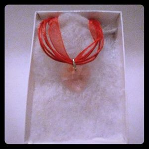 Jewelry - Pretty Peach Crystal Heart Necklace